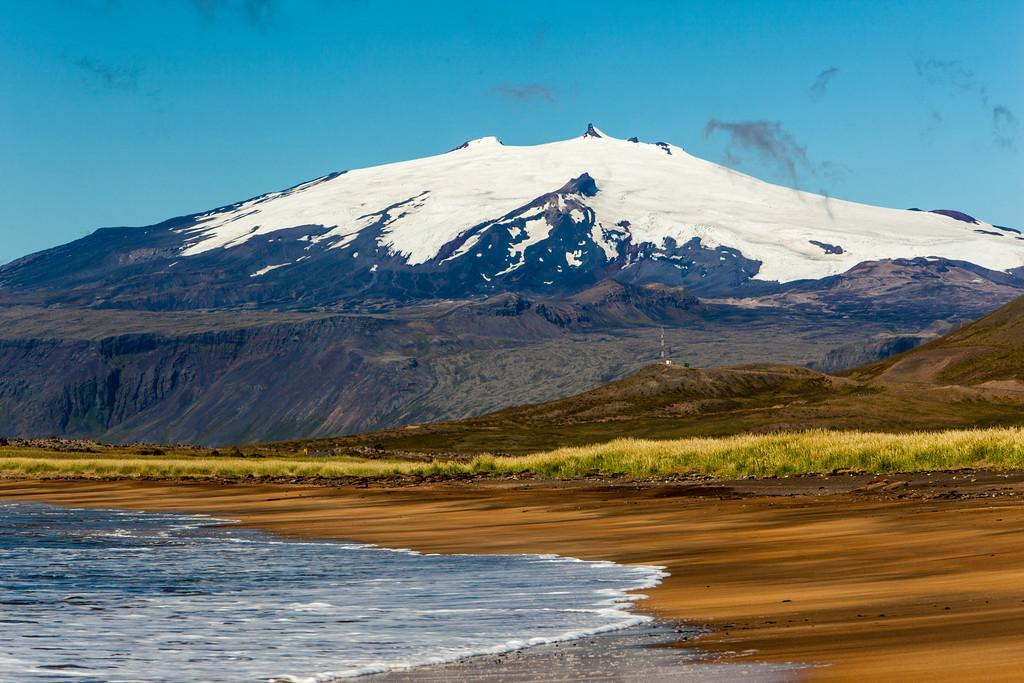 """The great Snæfellsjökull, known from the novel """"Journey to the Center of the Earth"""" (1864) by Jules Verne."""