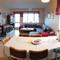 The living room, panoramic view from the kitchen