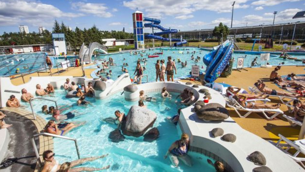 Geothermal warm swimming pools are all over Reykjavik with hot tubs and shallow childrens playpools.