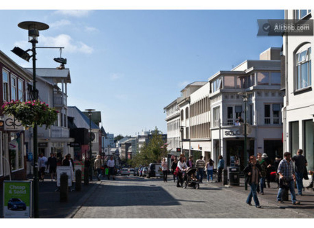 Laugavegur, shopping street - only takes a minute to walk from the apartment