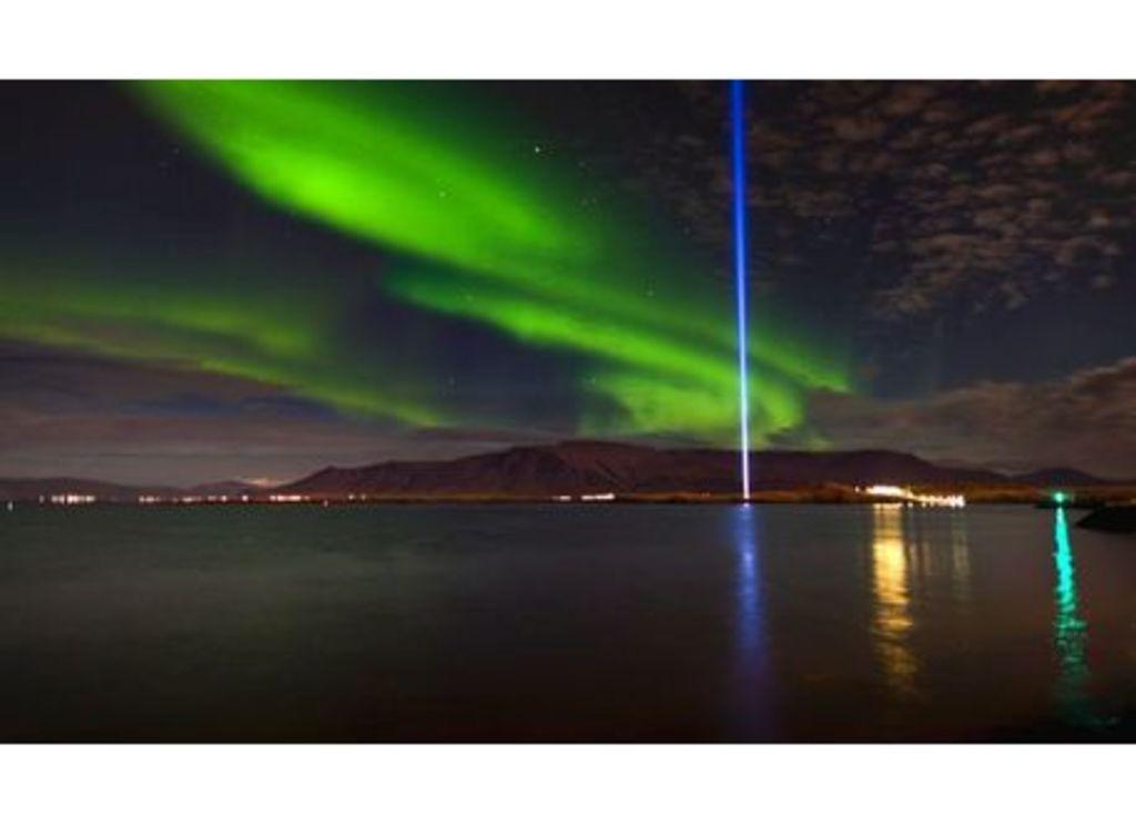 The Imagine Peace Tower in Videy island, Reykjavik, is a work of art by Yoko Ono
