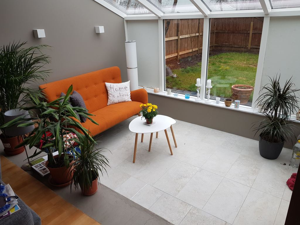 Solarium, part of the living room with access to the garden patio.