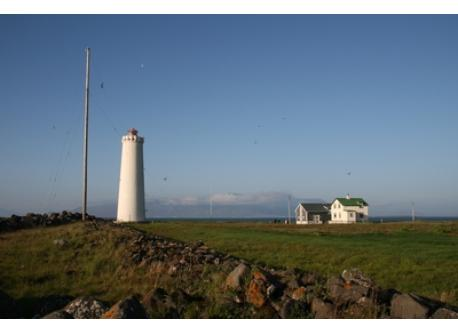 The lighthouse at Grótta, Reykjavík area, can only be reached when the tide is low, twice a day.