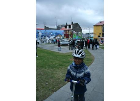 Our son in downtown Reykjavik