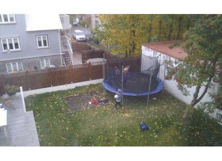 Kids playing on the trampoline in the garden
