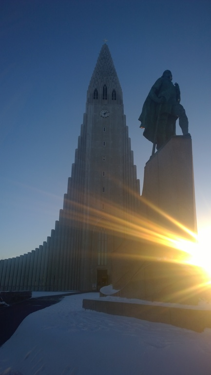 "Reykjavik ""Hallgrimskirkja"" and ""Leifur heppni"" (who found a small continent in the west)"
