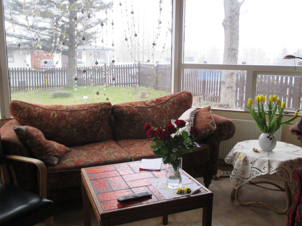 Living room & view to the garden in a foggy easter day