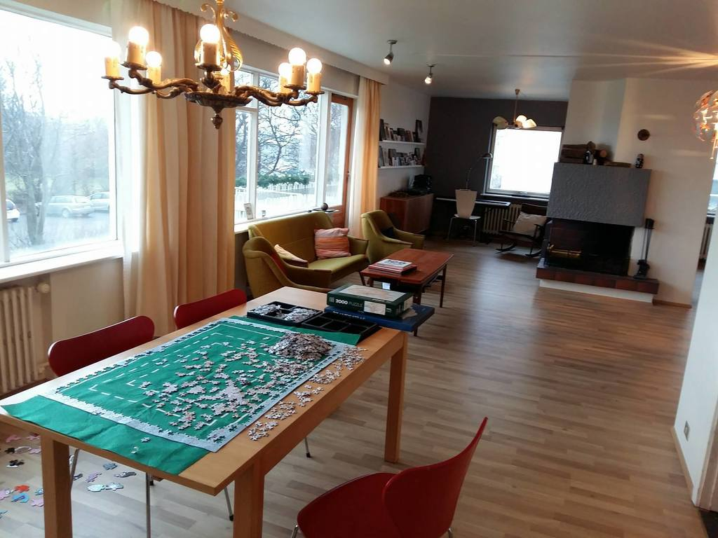Dining room and living room - yes puzzles are a family hobby!