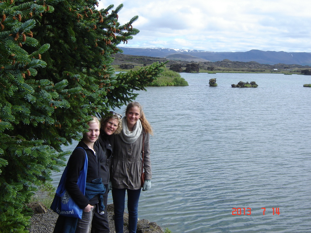 Erna, Berglind and Valgerður at Mývatn.