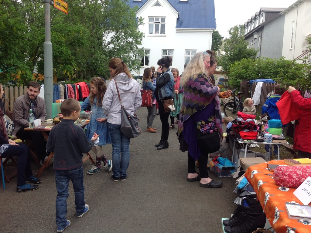 Annual market on the pedestrian path in front of the house, first Sunday in June