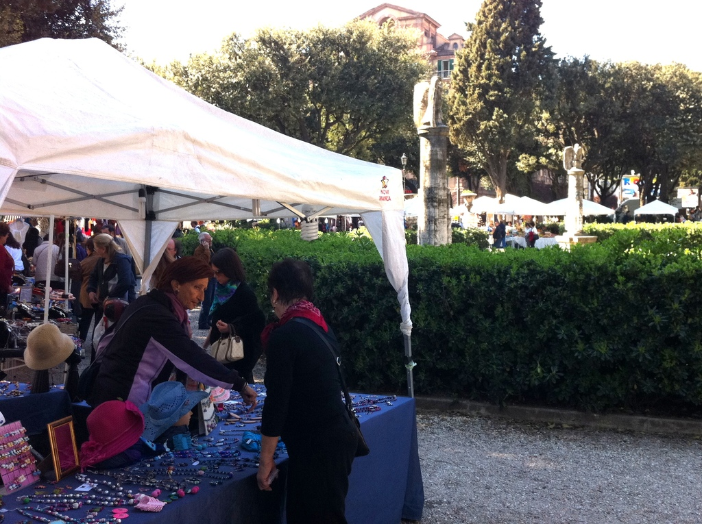 Piazza Mazzini Sunday Market. Antique. handicrafts, vintage