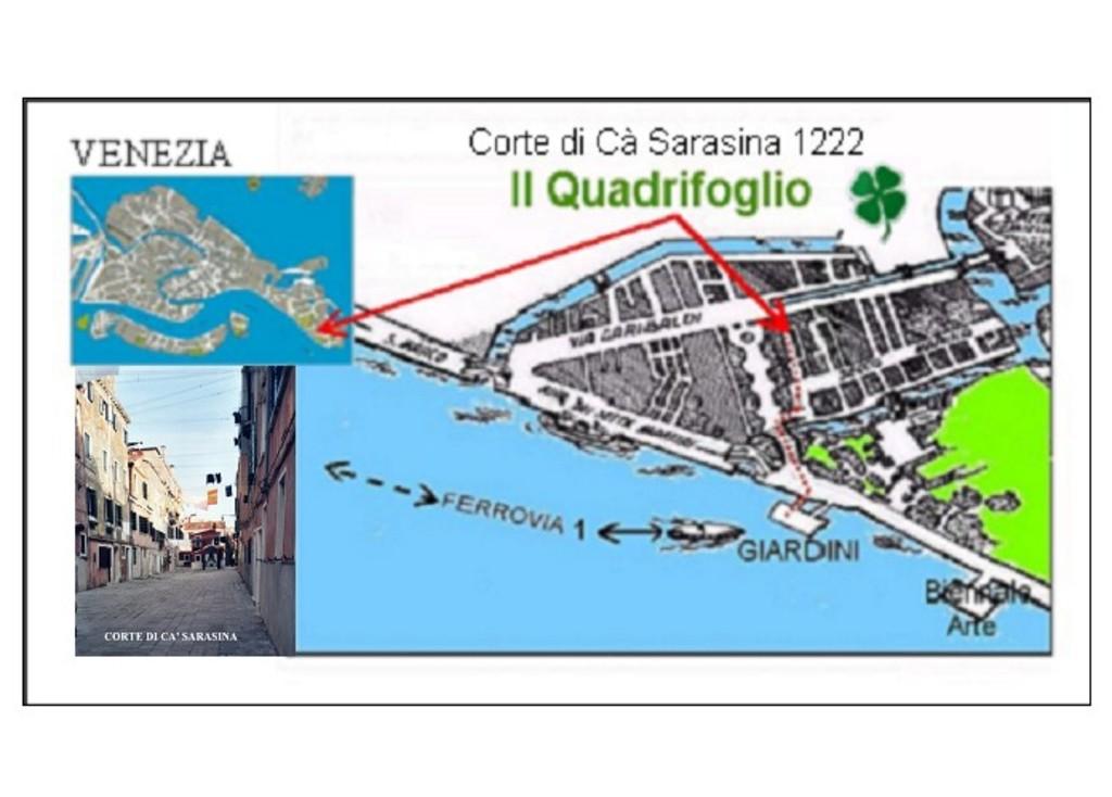 Mappa per raggiungere l'appartamento da fermata vaporetto Giardini