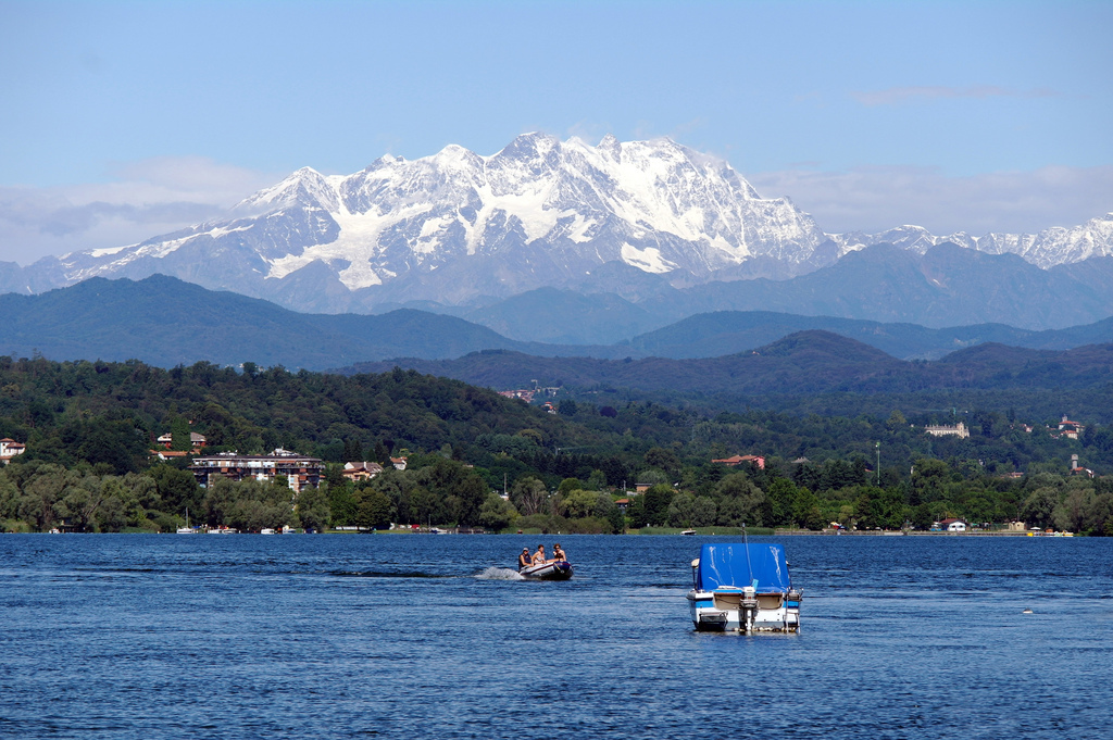 Maggiore Lake and the Alps in summer