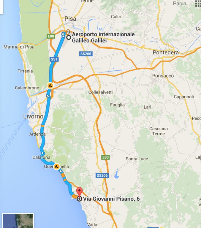 from Pisa Airport to the house (less than one hour)