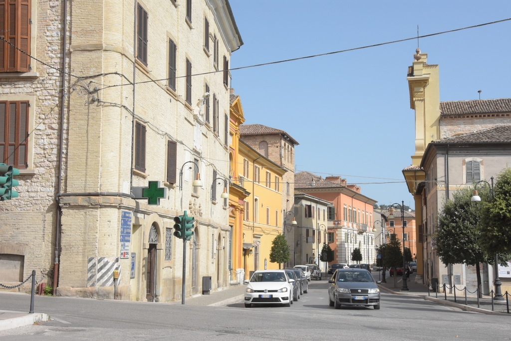 The main street with the old hospital and the cathedral