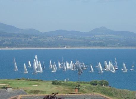 The Round Ireland Yacht Race leaving Wicklow. View from our Garden