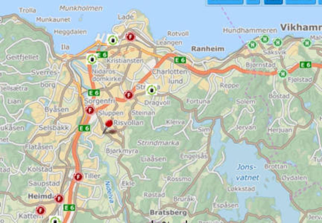 Trondheim map: Our home is located on the red pin