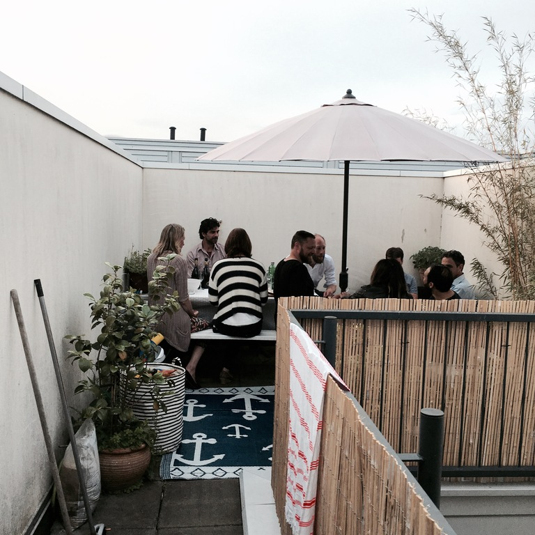 Little 'get together' with friends on our roofterrace. Small but it did fit as you can see : )