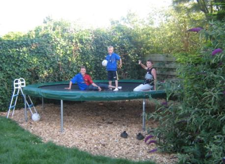 The trampoline in the backyard