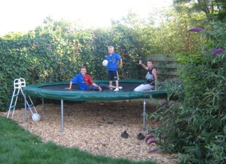 The trampoline in the backyard