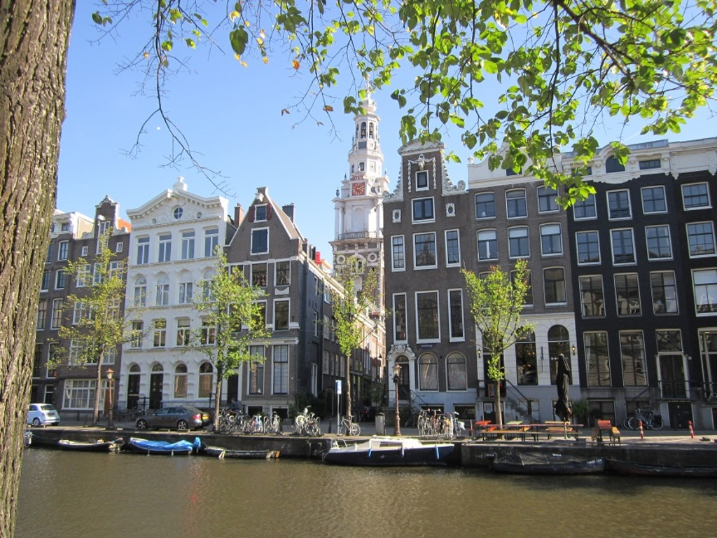 Amsterdam canal, view on Westertower