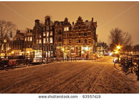 Amsterdam with snow