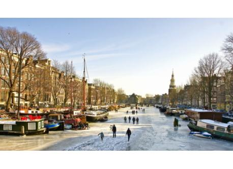Amsterdam with frozen canals