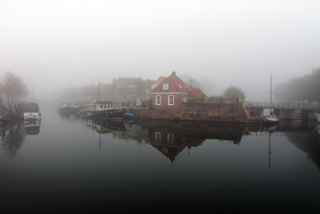 Harbour on a misty morning.