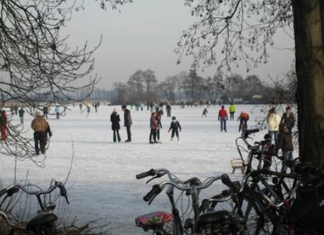 Lake area in a cold winter