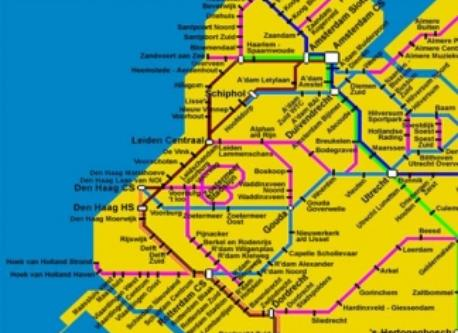Rail network in the West of The Netherlands