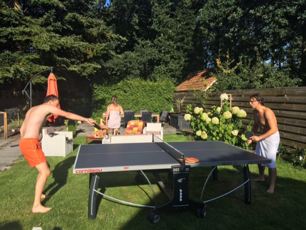 table tennis in the backyard