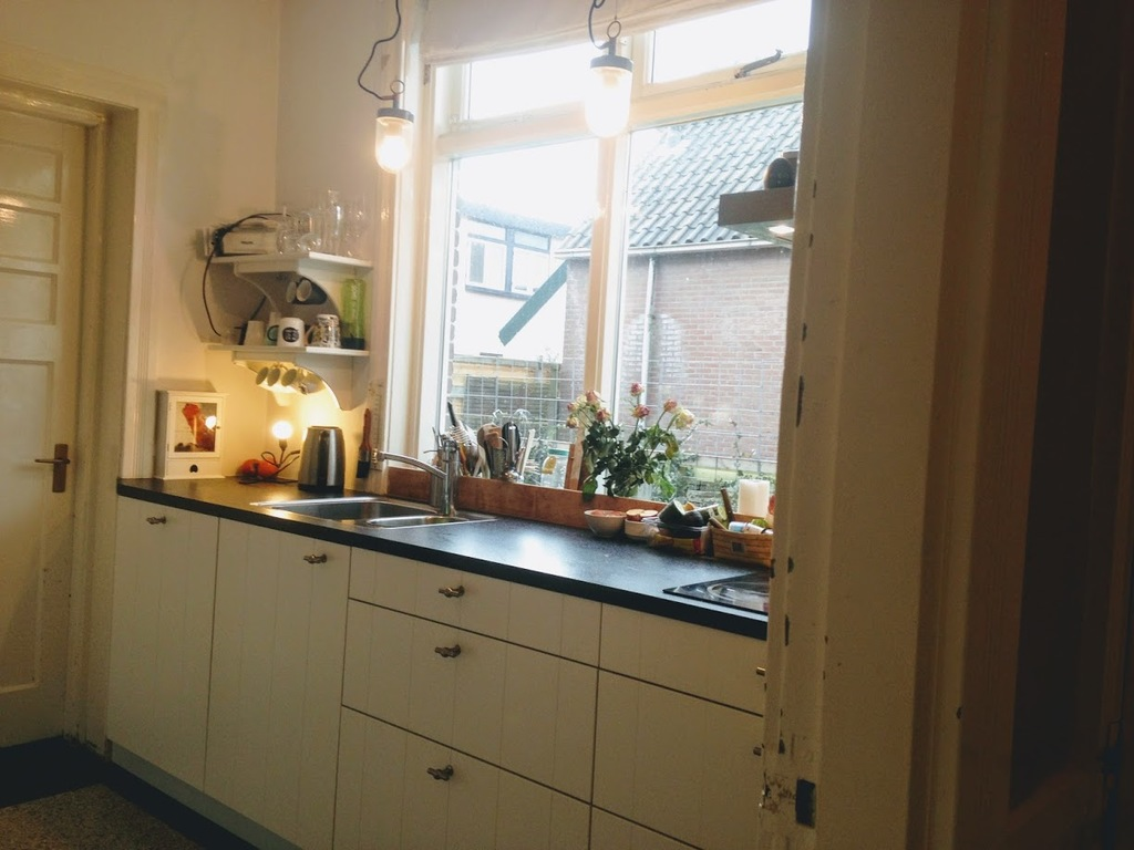 Our kitchen with a wall oven,fridge-freezer combination, induction hot plate, coffee machine.