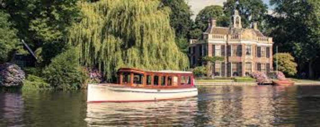 Beautiful houses along the river Vecht