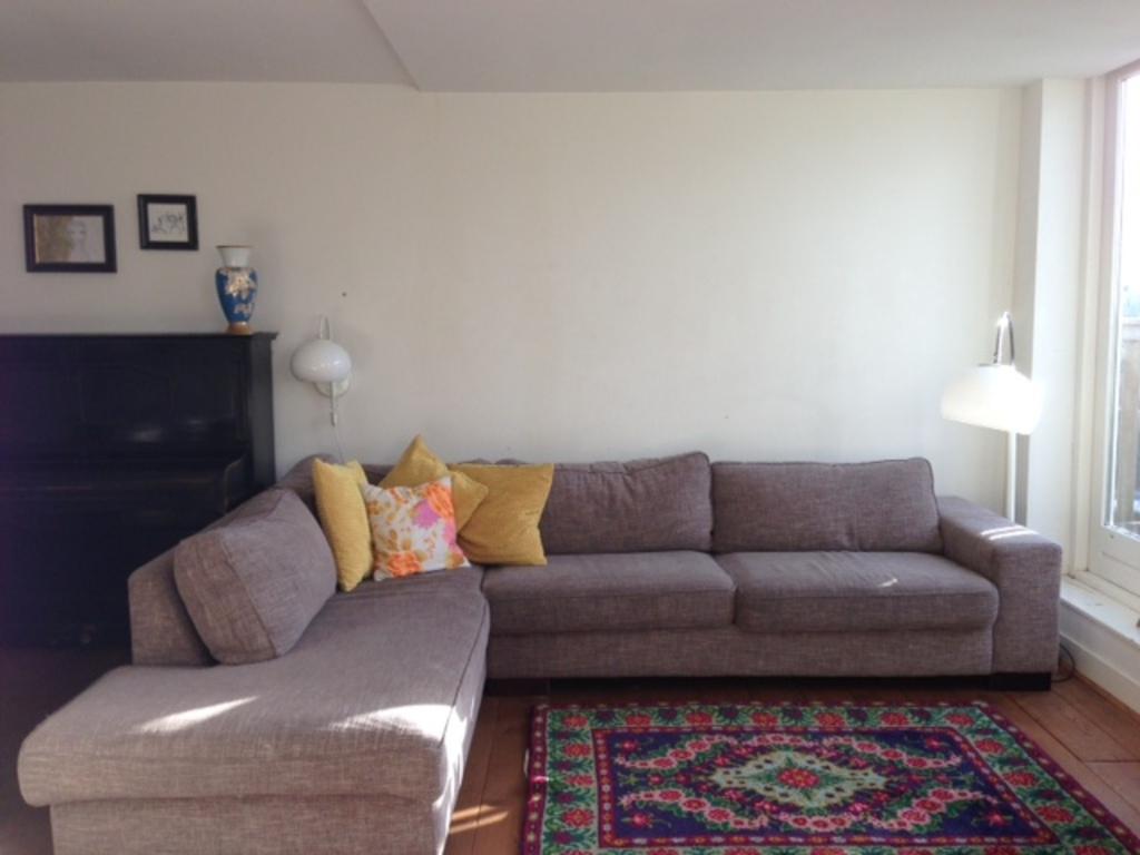 big family sofa with 2 doors to the balcony