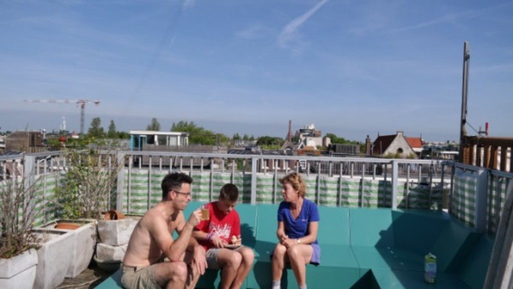 Roofterrace with view over Amsterdam.