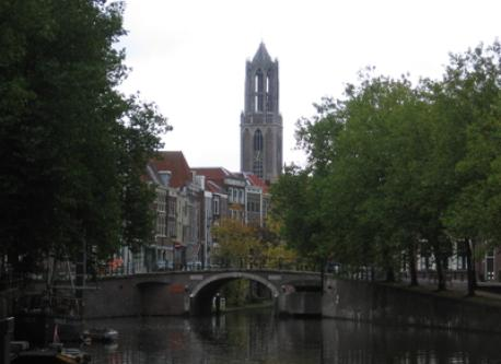 Dom tower and canal in Utrecht