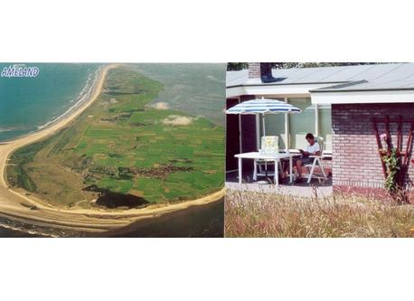 Ameland island  from above.Terrace at the house.