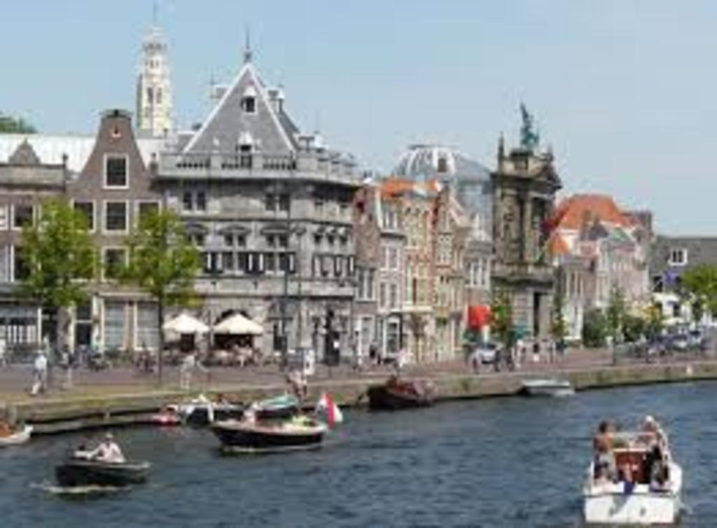 The river Spaarne in the centre of Haarlem and Teylers Museum