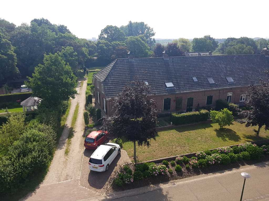 Aerial view on our house from across the street