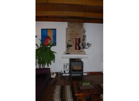 livingroom with wood stove (also central heating!)