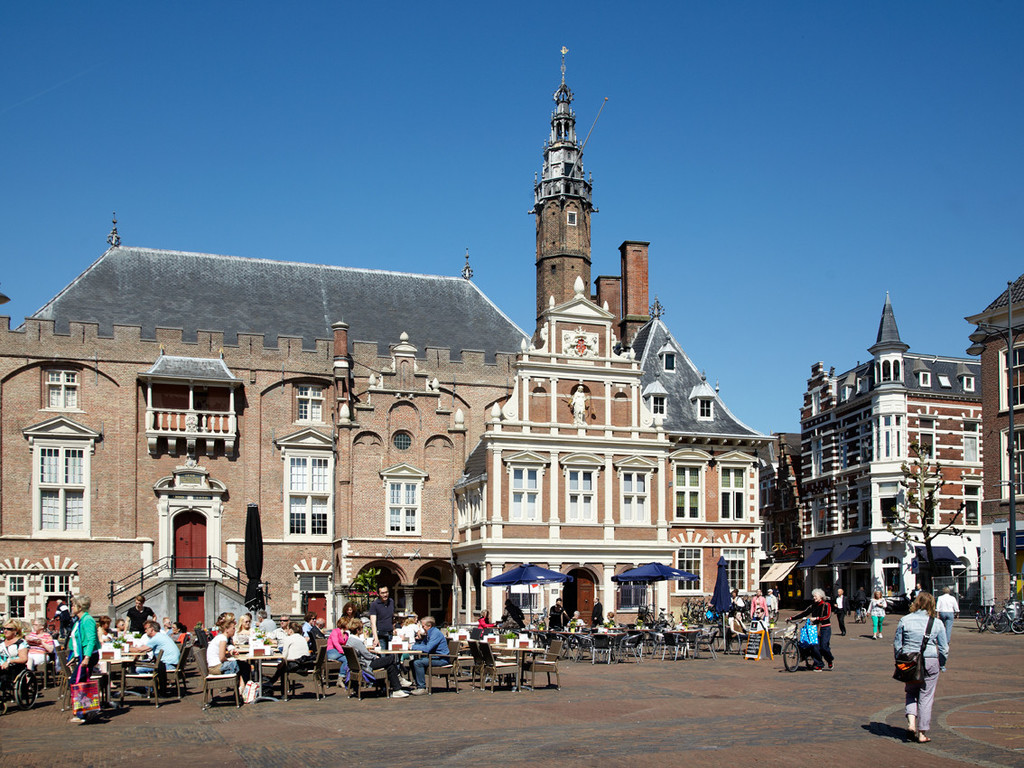 Haarlem Market square view on city hall