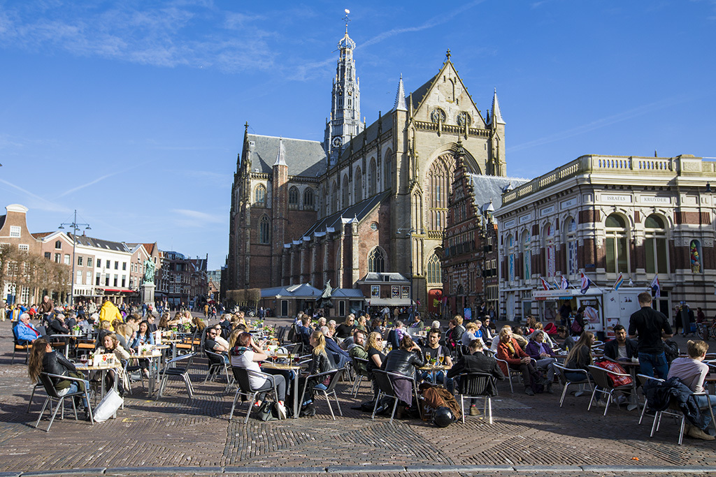 Haarlem Market square view on cathedral