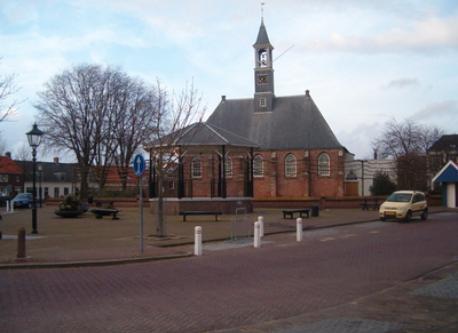 village square in winter