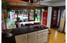 kitchen with view at the garden