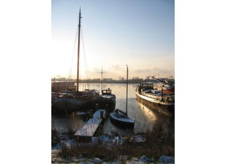 small harbour in winter, near Amsterdam
