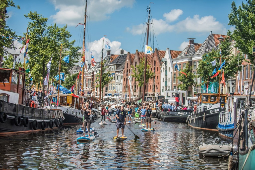 The canals in the city of Groningen