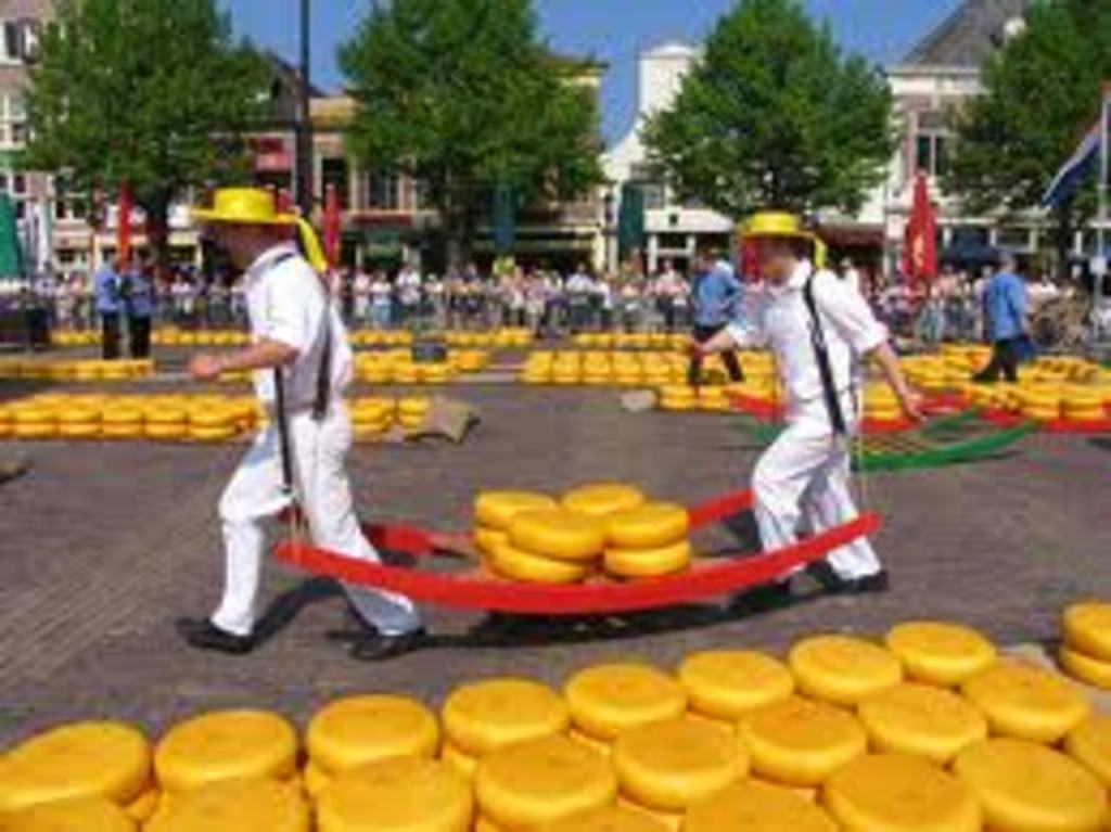 Resume your trip and you're on the famous Dutch cheese-market in Alkmaar