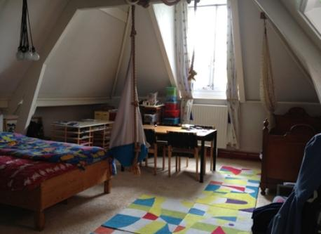 big attic bedroom with one bed and (140cm) dubble bed (fourth floor)