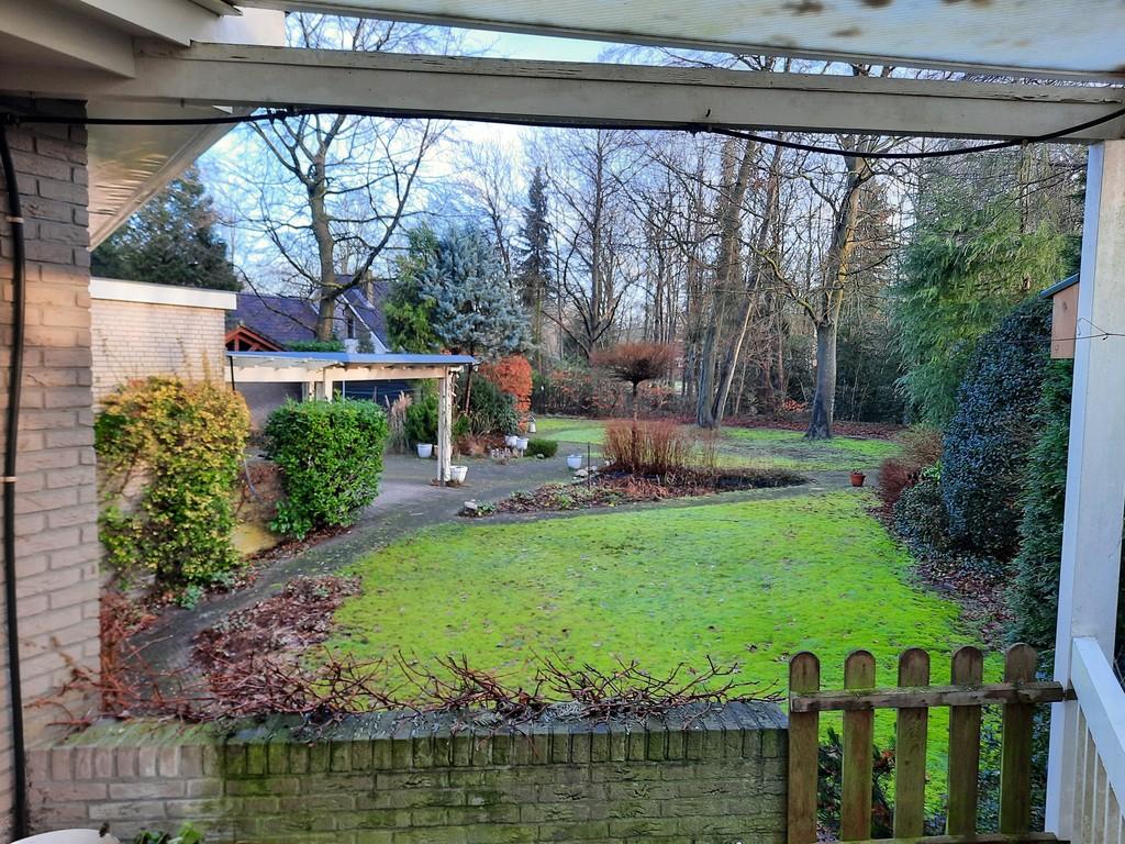 achtertuin back yard with car port