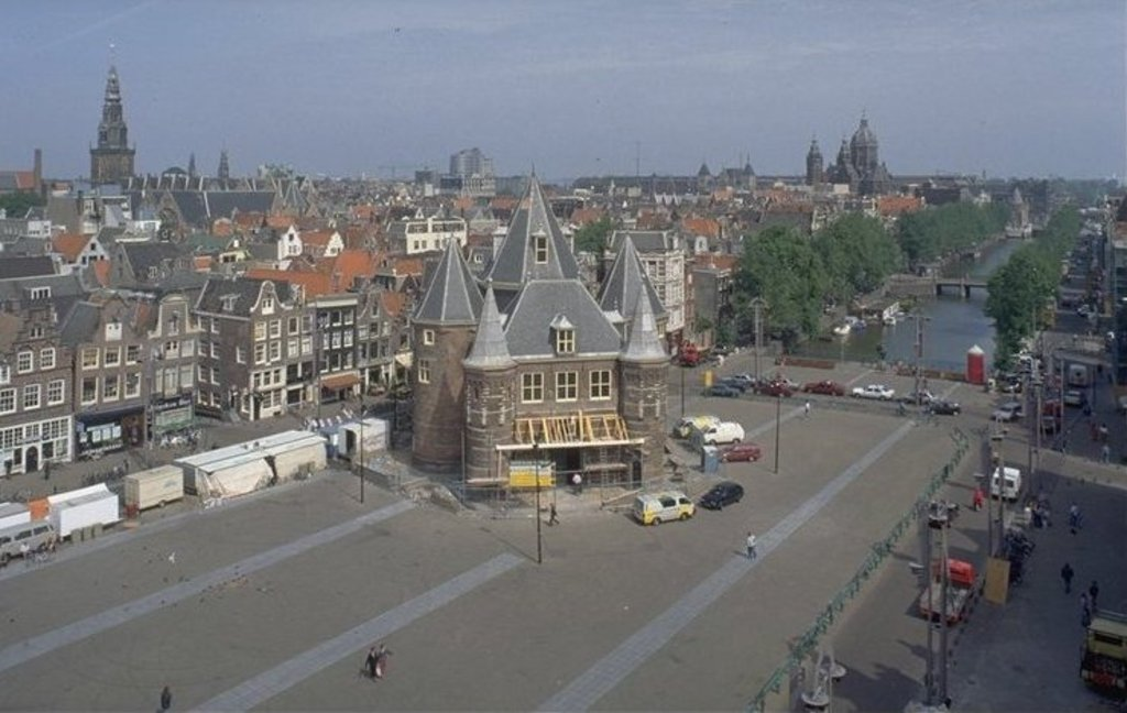 Two block away: the Nieuwmarkt square with the Waag building (for balancing goods) at the market.